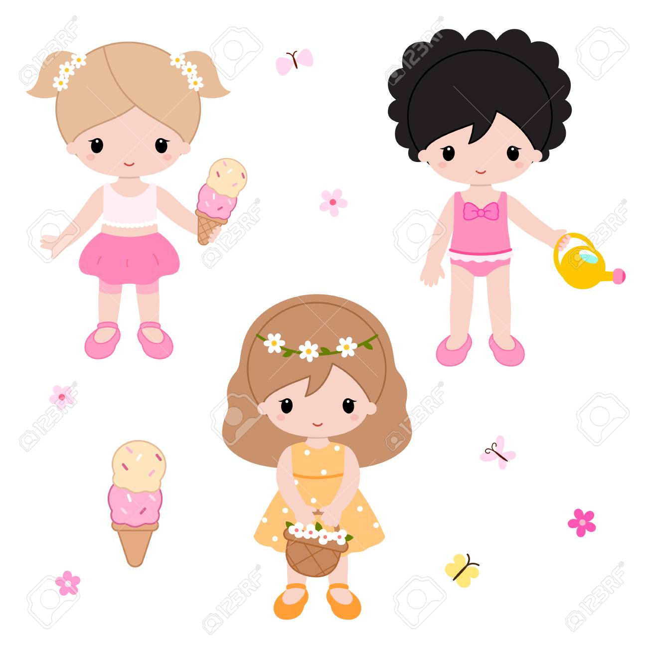 Cute little girls playing on the nature. Summer clipart. Vector...