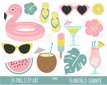 SUMMER CLIPART, FLAMINGO, pool graphics, TROPICAL, INFLATABLE,.
