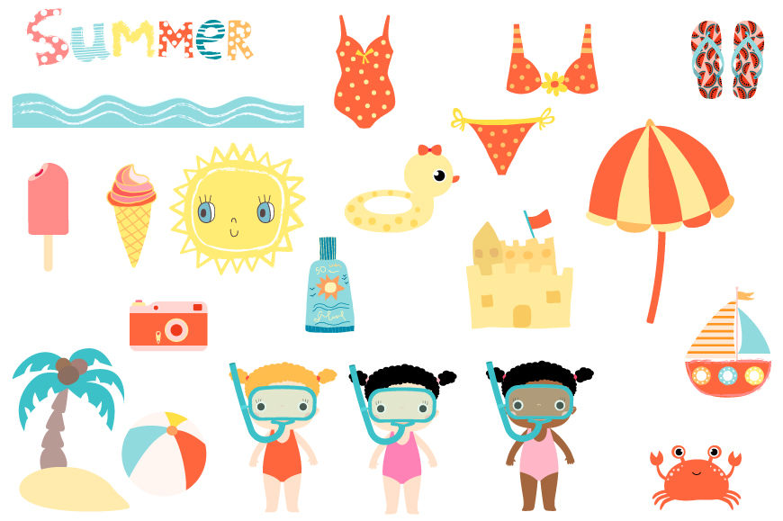 Cute summer clipart set, Beach holiday clip art, sun, snorkel girl.