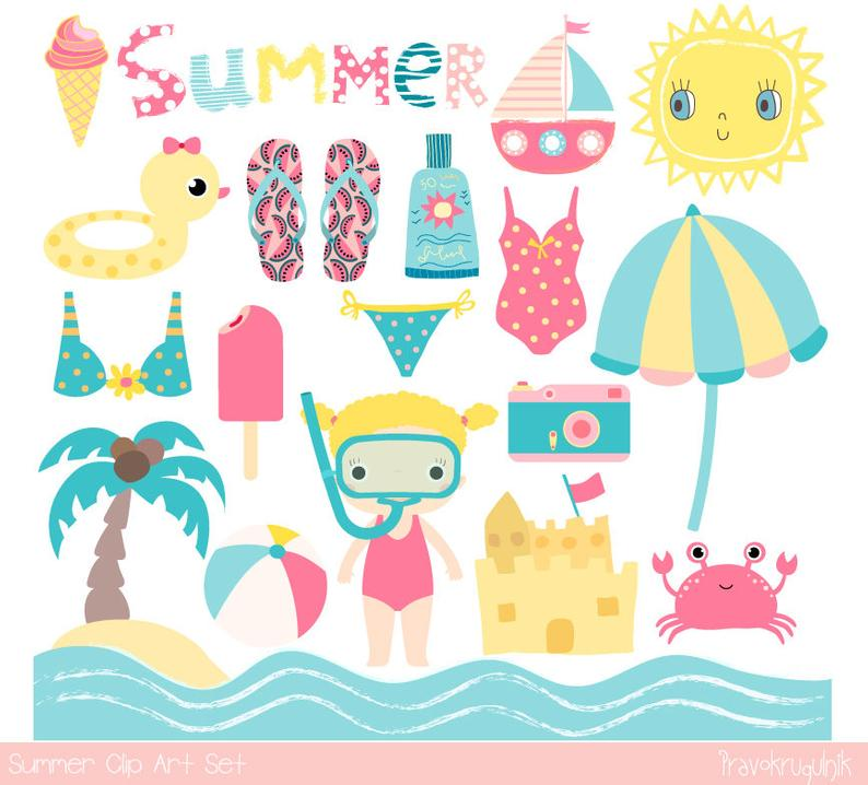 Cute pink summer clip art, Beach holiday clipart vacation, Kid set clipart  child, sun, snorkel girl, swimsuit, sunscreen, boat, ice cream.