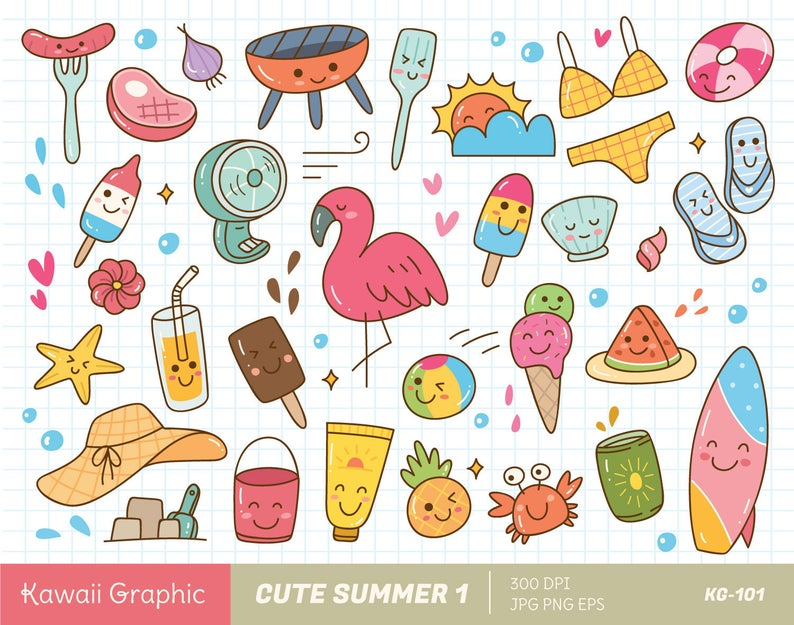 Cute SUMMER Clipart, kawaii clipart, cute vector, doodle clipart, cute  doodle, digital download.