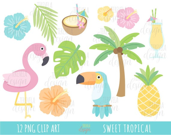 TROPICAL clipart, SUMMER clipart, flamingo clipart, flowers, fruits,  commercial use, drinks, palm, pelican, cute summer, pastel colors.