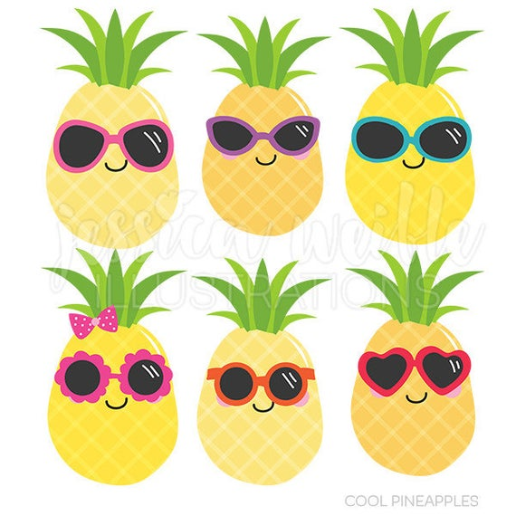 Cool Pineapples Cute Digital Clipart, Commercial Use OK, Pineapple.