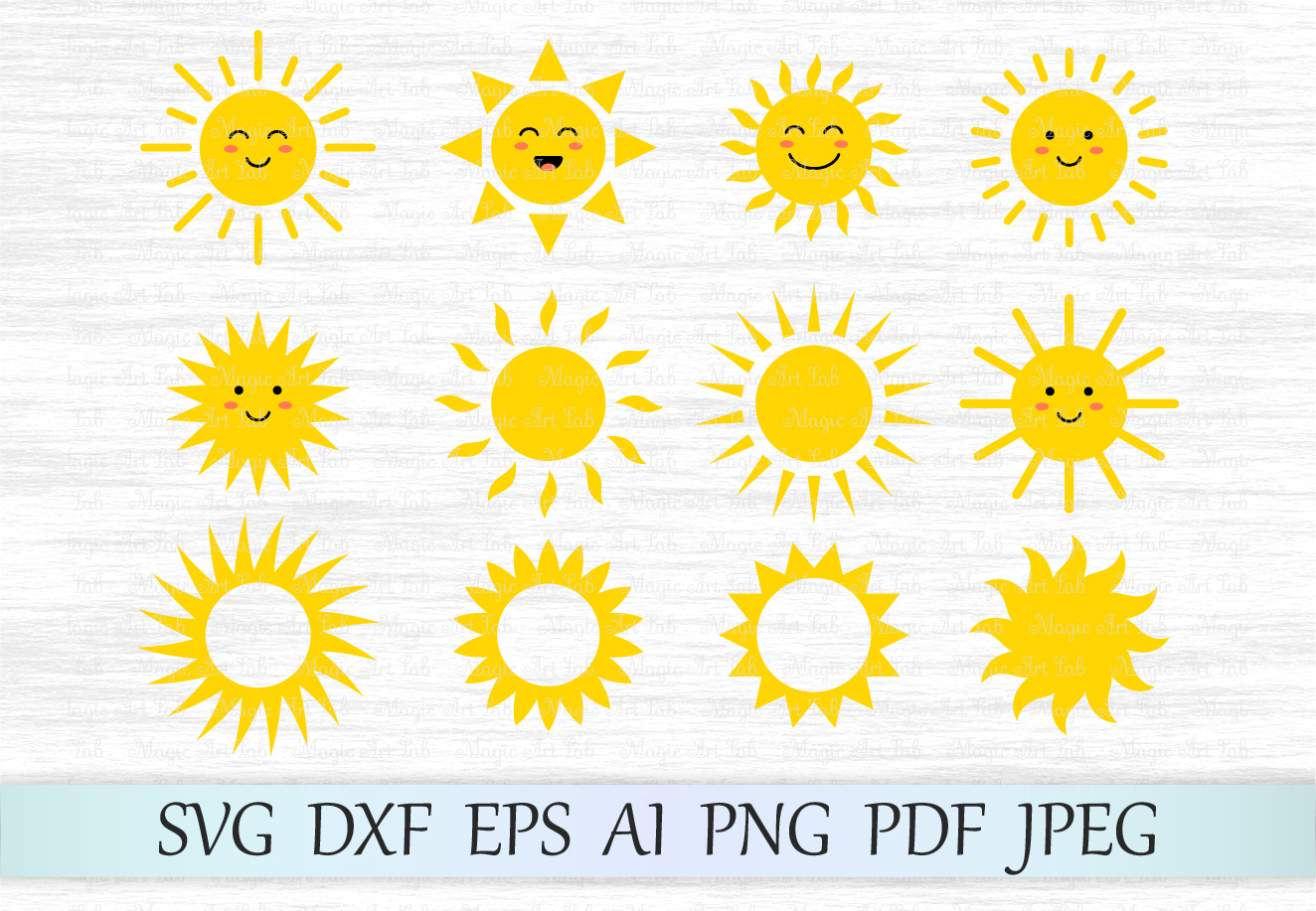 Sun svg, Sun clipart, Cute sun svg file, Sun face svg.