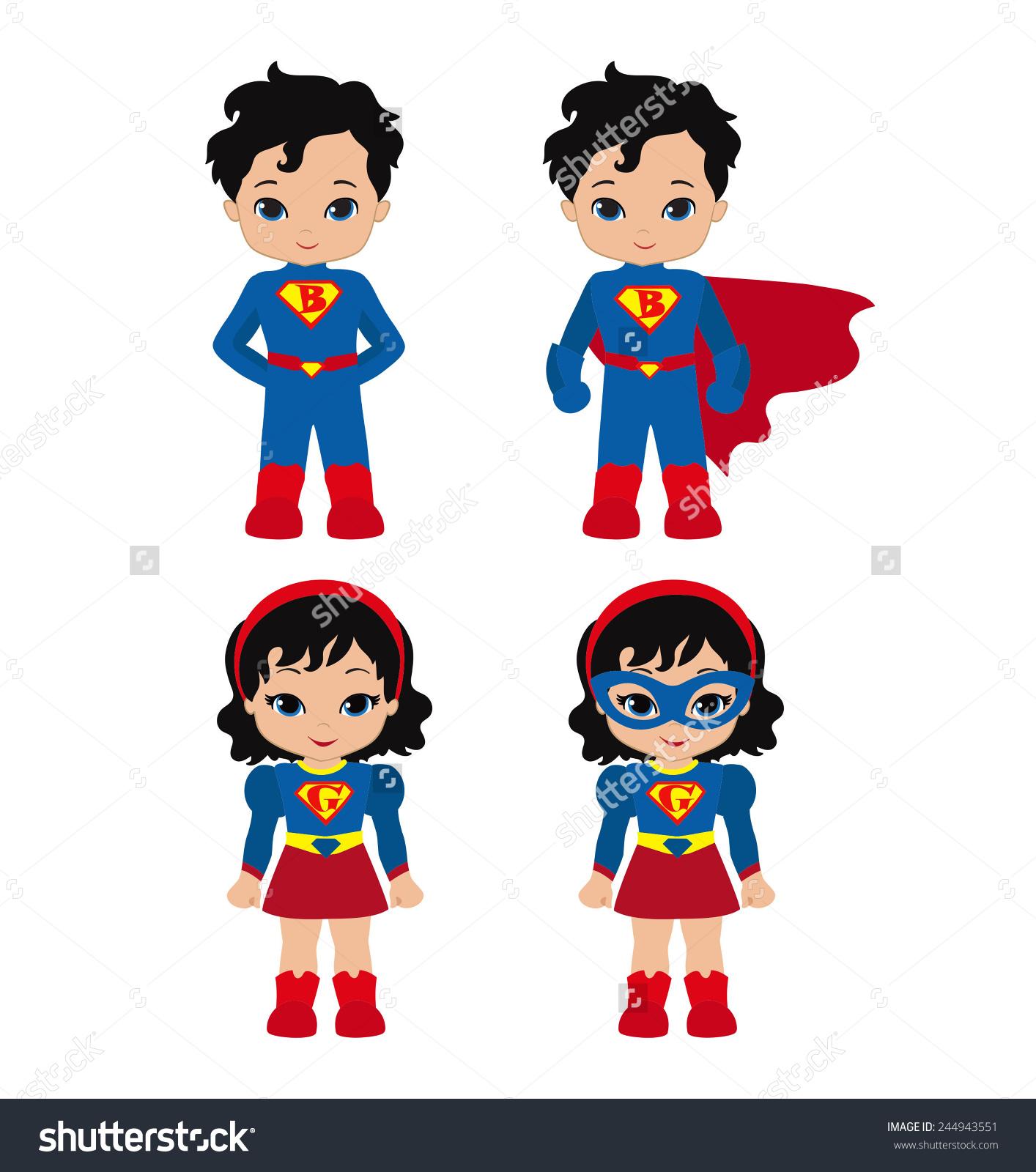 Cute Superhero Girl Boy Vector Clip Stock Vector 244943551.