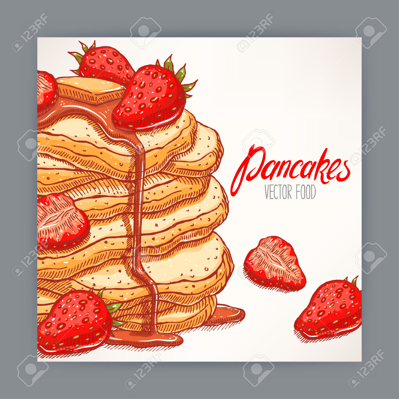 Cute Card Of Appetizing Pancakes With Strawberry And Syrup. Hand.