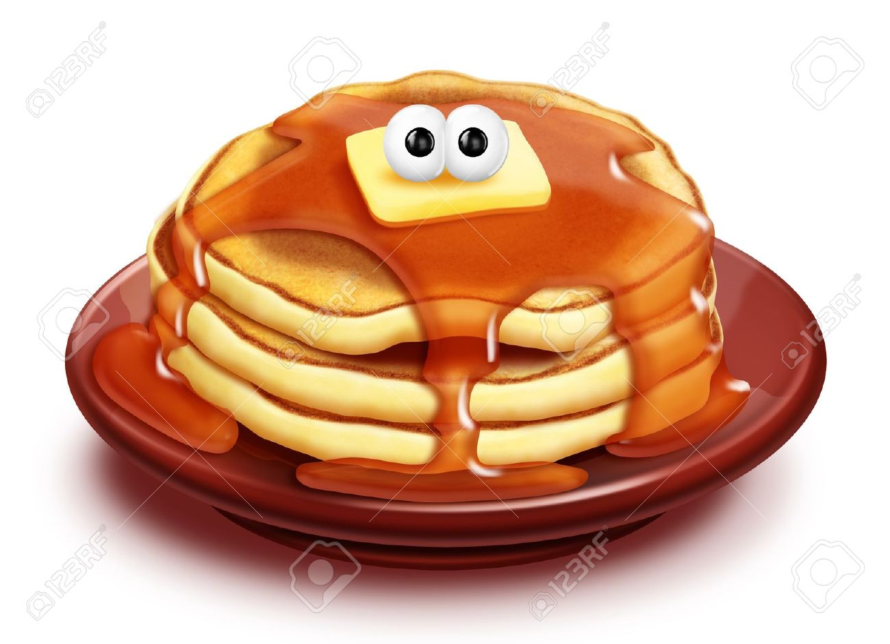 Whimsical Cartoon Pancake Stack With Syrup And Butter Stock Photo.