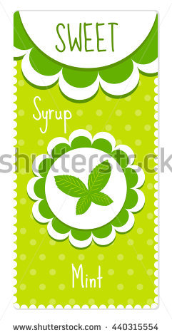 Cute Labels For Drinks, Syrup. Mint Label. Vector Illustration.