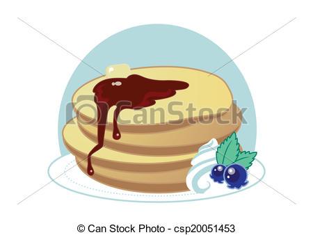 Clipart Vector of Cute Sweet Cartoon Pancakes.