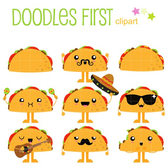 Cute Tacos Clip Art for Scrapbooking Card Making Cupcake Toppers.