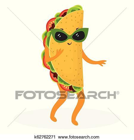 Cartoon cute taco Clipart.