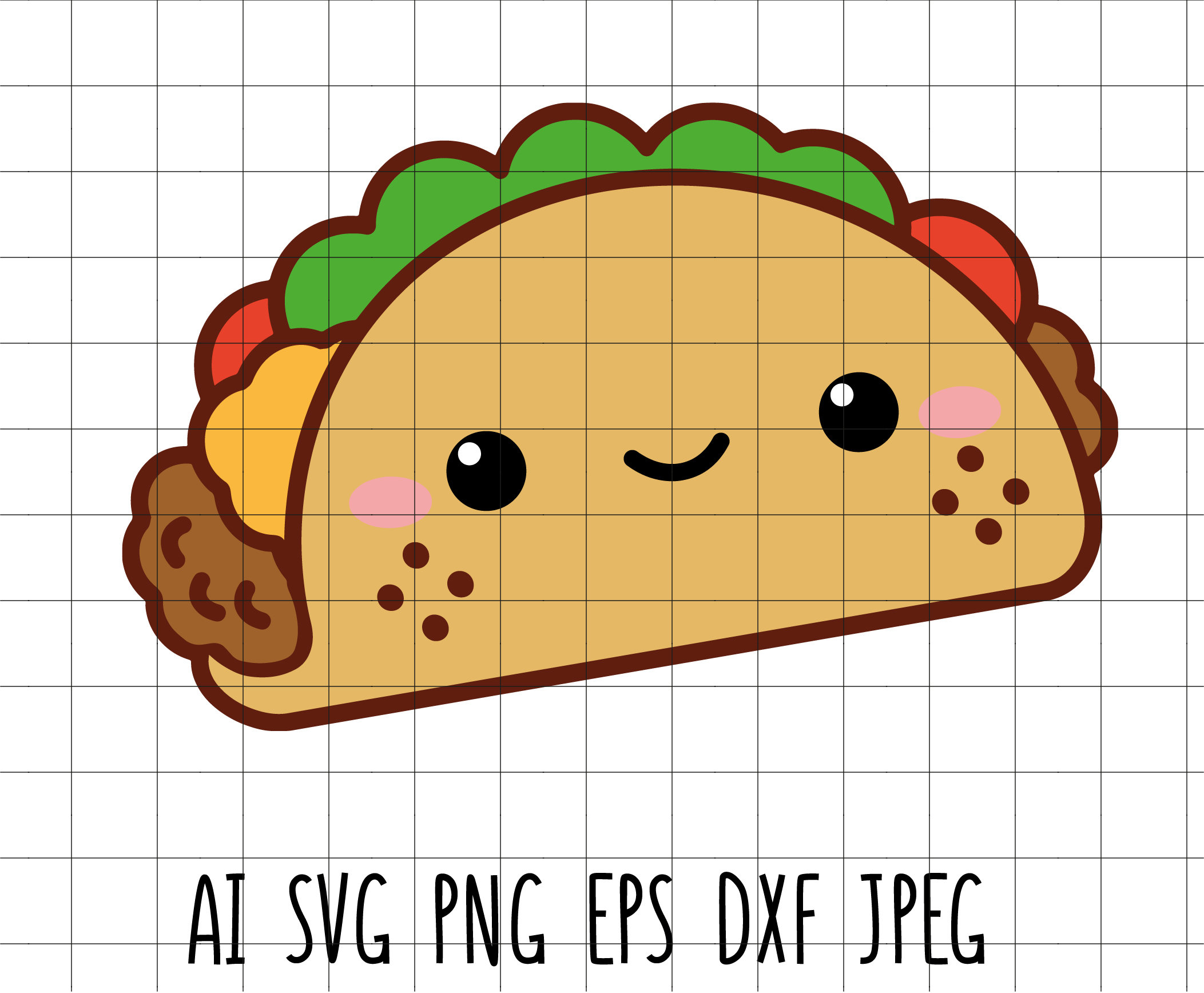 Cute Taco Kawaii Mexican Food Vector Clip Art Cutting File Vinyl Transfer  Embroidery Scrapbooking Decor Svg Dxf Eps Jpeg Ai Png.
