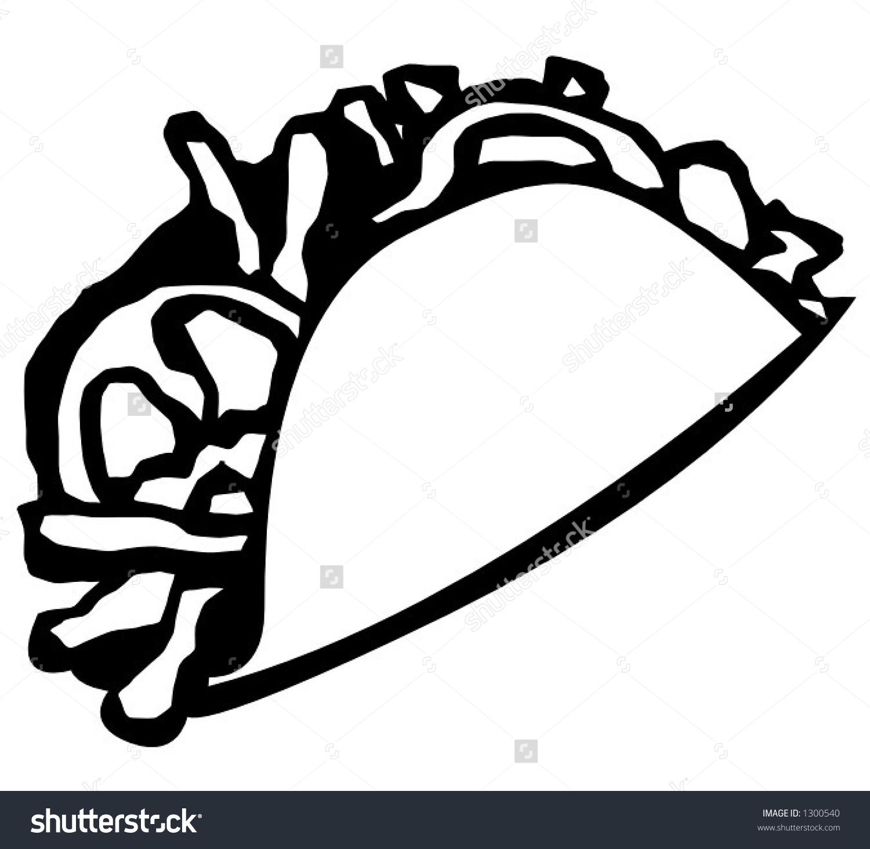 Cute Taco Clipart Black And White.