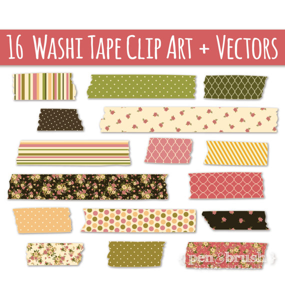 CLIP ART: Washi Tape // Vector & PNG // Vintage Floral // Cute.