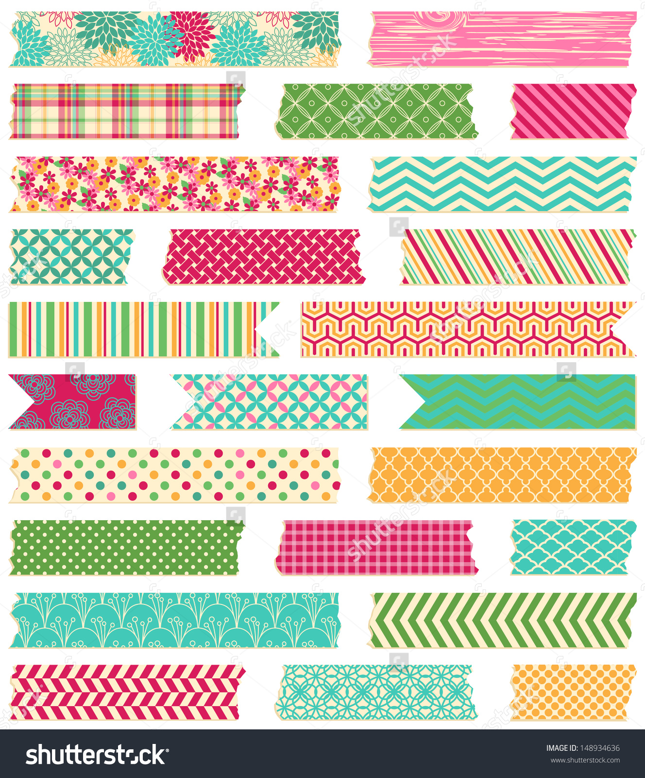 Vector Collection Cute Patterned Washi Tape Stock Vector 148934636.