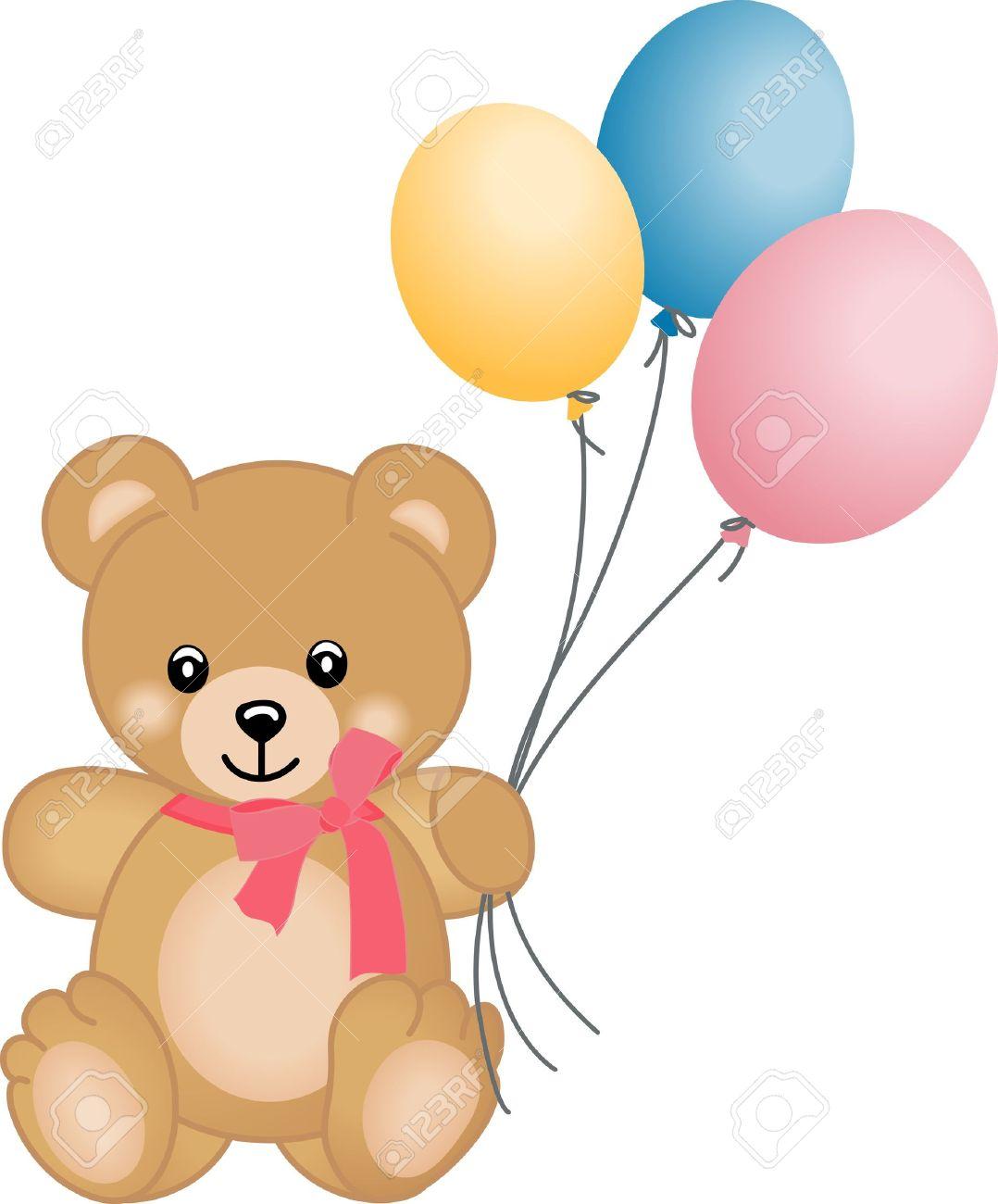 Cute teddy bear flying balloons.