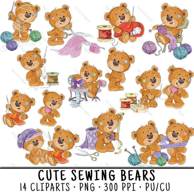 Teddy Bear Clipart, Teddy Bear Clip Art, Sewing Clipart, Sewing Clip Art,  Clipart Teddy Bear, Clipart Sewing, Cute Bear PNG, Cute Teddy Bear.