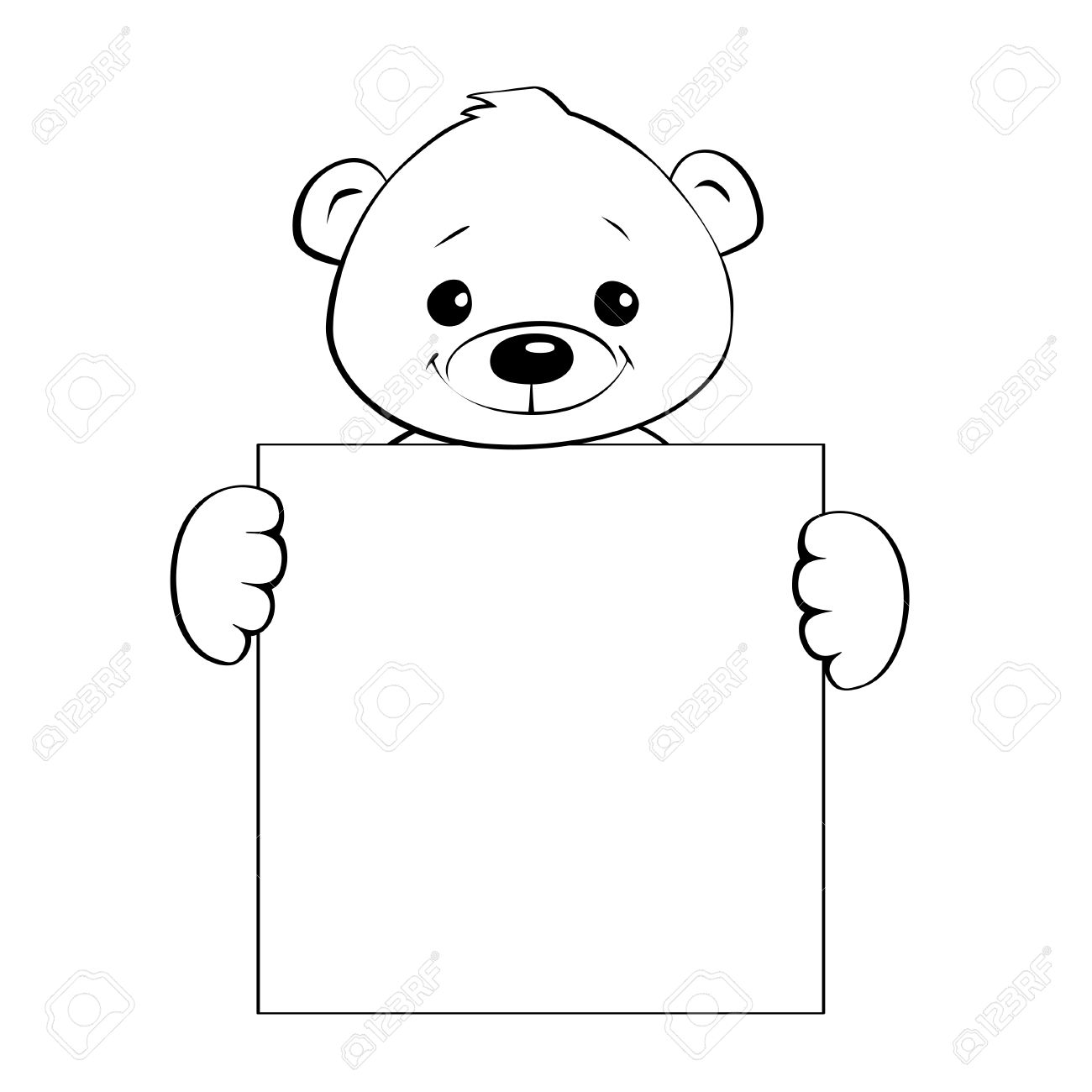 Black and white illustration of a cute cartoon teddy bear holding...