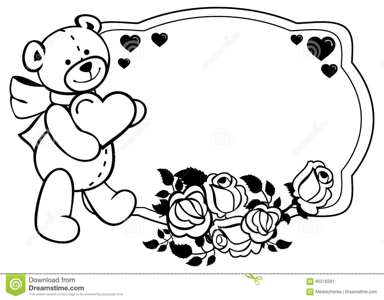 Oval Label With Outline Roses And Cute Teddy Bear Holding Heart.