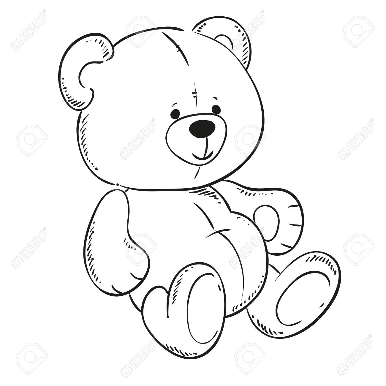 cute Teddy bear. Black outline for coloring book. Vector contour..