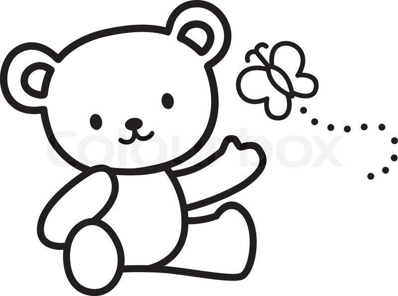 Stock vector of 'Illustration of Very Cute Teddy Bear with butterfly.