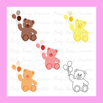 Cute Teddy Bear With Balloons Clip Art Clipart.