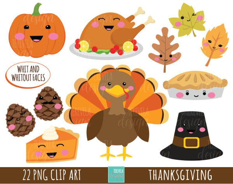50% SALE THANKSGIVING clipart, commercial use, turkey clipart, kawaii  clipart, cute graphics, thanksgiving images, FALL clipart.
