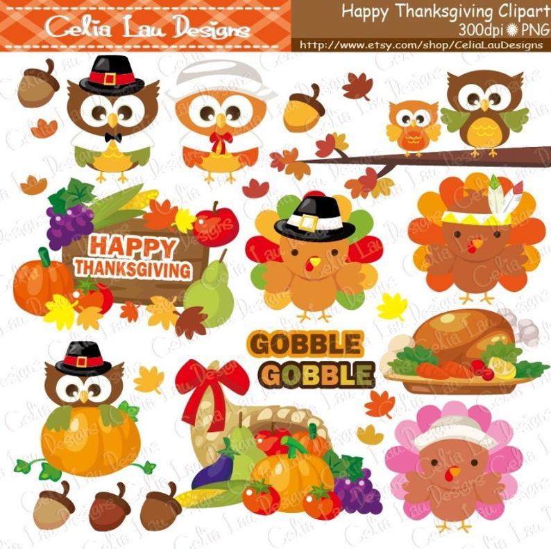 Gobble Thanksgiving Clipart, Turkey Clipart, Pumpkin clipart,Fall  clipart,Harvest clipart,Cute Thanksgiving(CG084)/ INSTANT DOWNLOAD.
