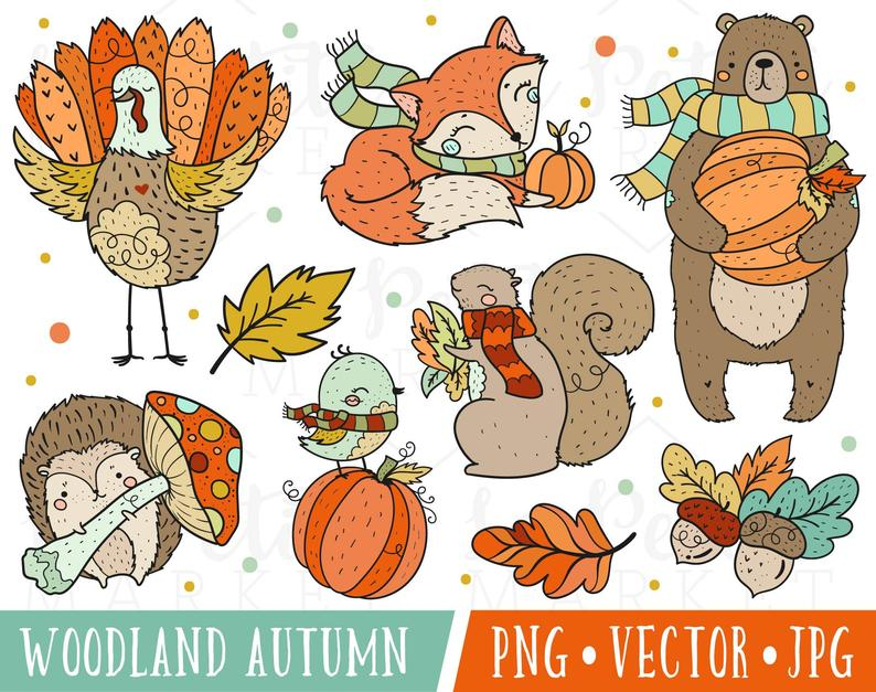 Cute Woodland Thanksgiving Clipart Images, Cute Autumn Thanksgiving  Clipart, Thanksgiving Animals, Woodland Autumn Animals Clipart Clip Art.