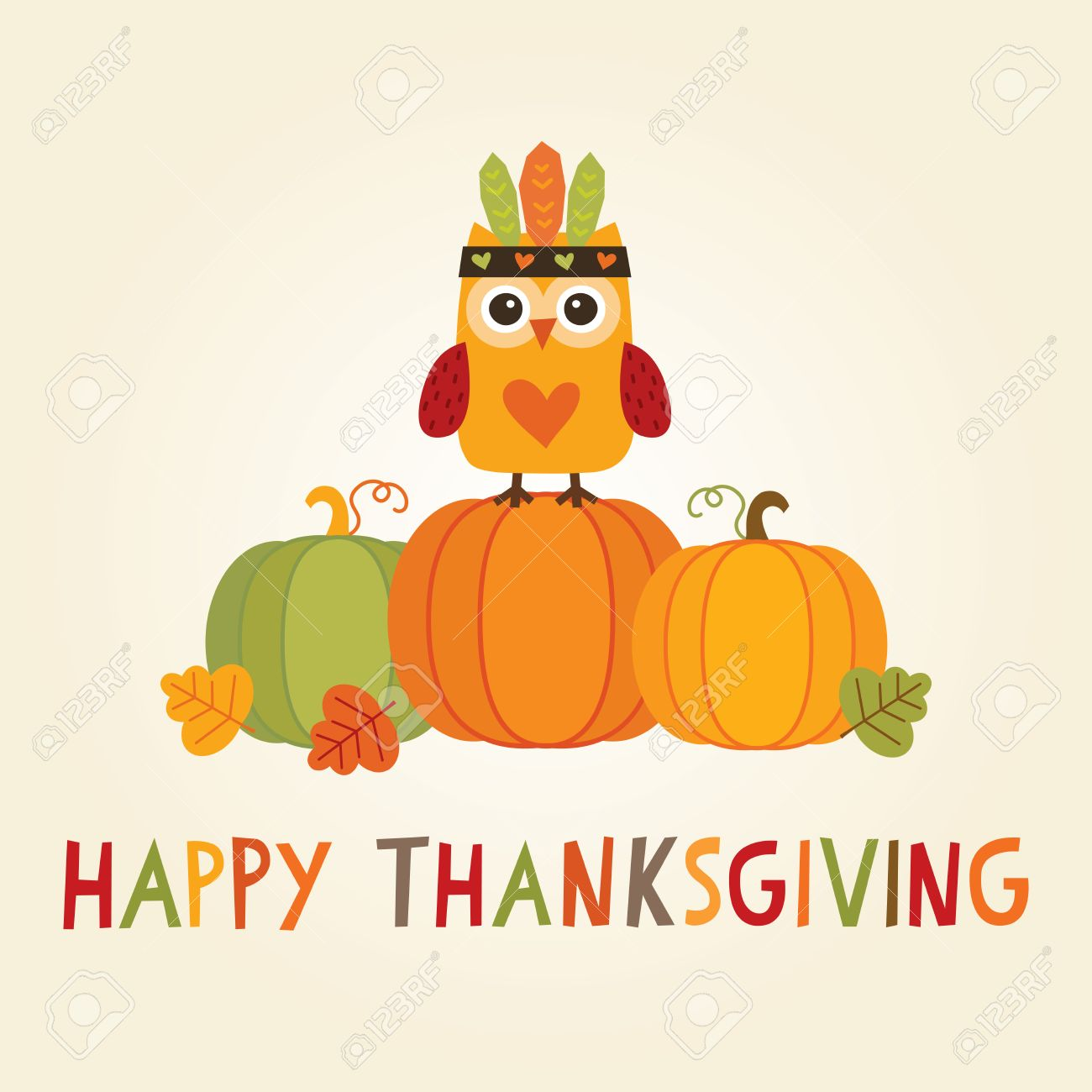 Happy Thanksgiving Day card, poster or menu design with cute...