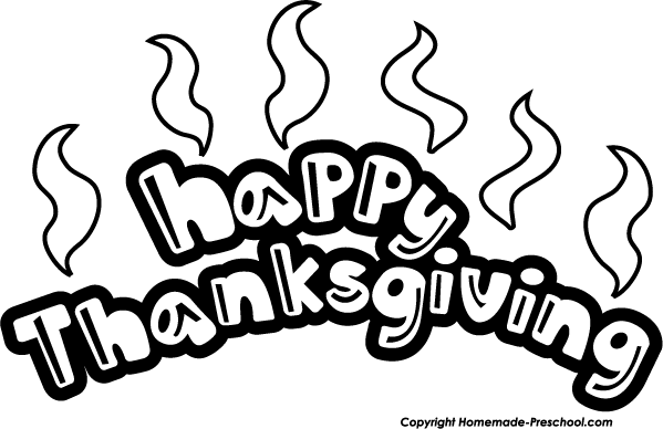 Happy Thanksgiving Banner Clip Art Black And White