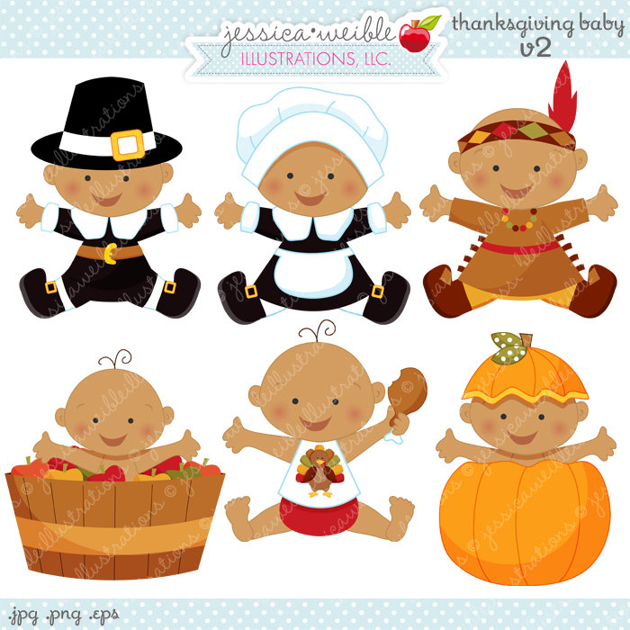 Thanksgiving Baby V2 Cute Digital Clipart Commercial Use OK.