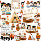 Cute thanksgiving indians clipart.