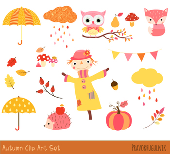 Cute fall clipart set, Autumn clipart, Thanksgiving clipart pumpkin,  scarecrow.