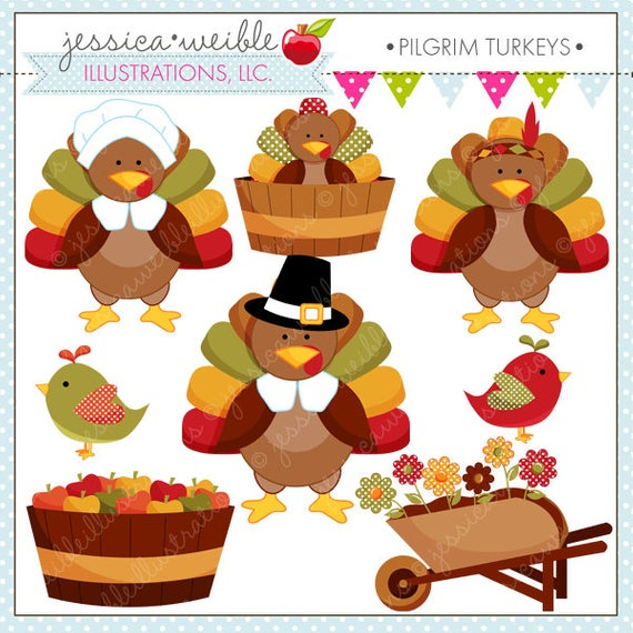 Pilgrim Turkeys Cute Thanksgiving Digital Clipart for Commercial or.