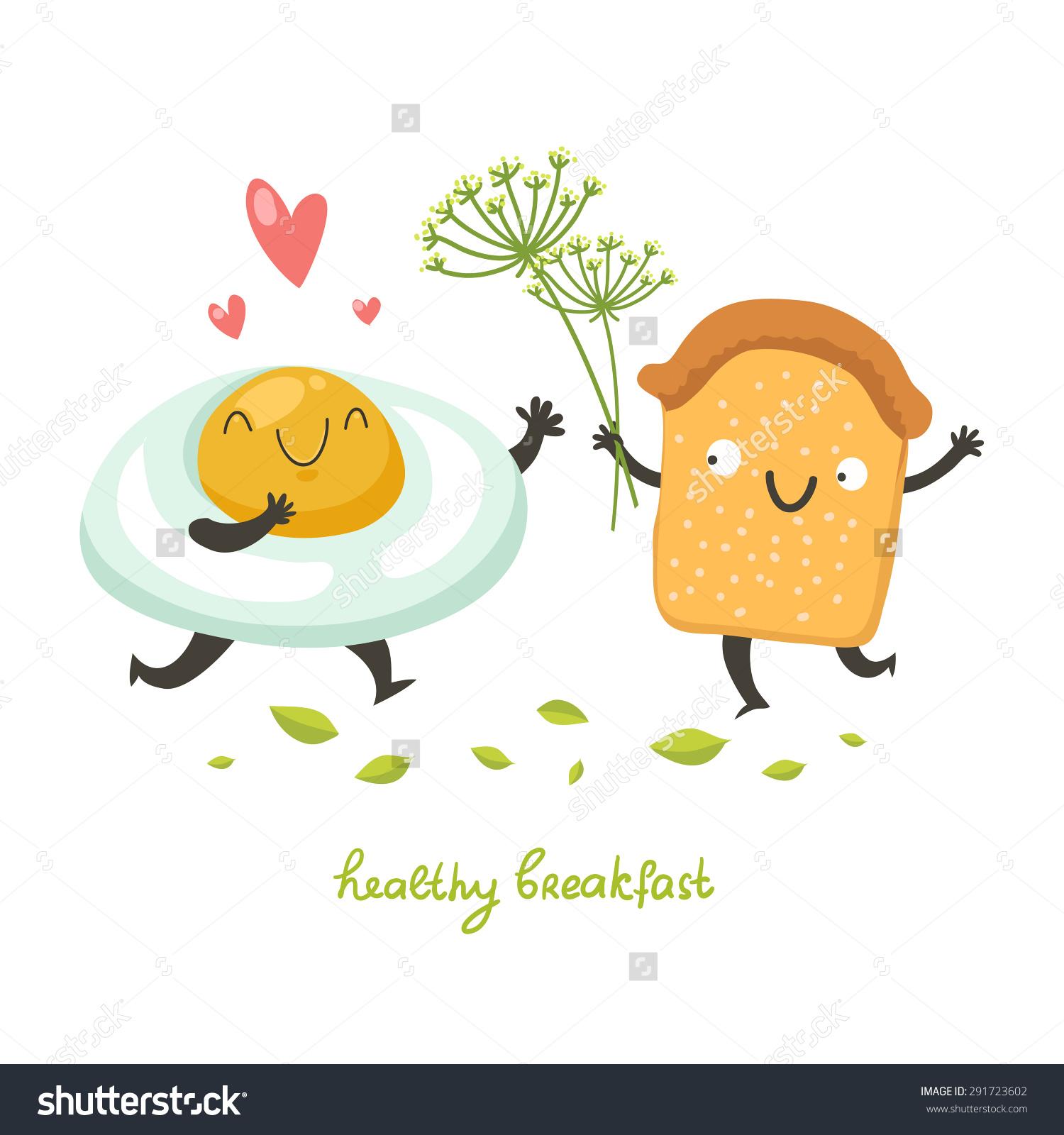 Vector Cute Breakfast Cartoon Egg Toast Stock Vector 291723602.