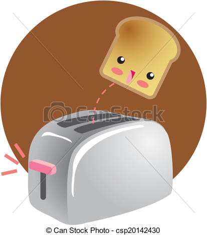 Clipart Vector of Toast character popping up from toaster.
