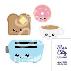 Cute Kawaii Toast illustration / Clip Art by Creative Clip Art.