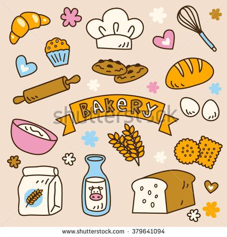 Cute Bakery Clip Art Set Yummy Stock Vector 379641094.