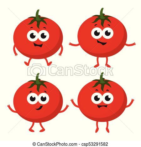 set with cartoon tomato.
