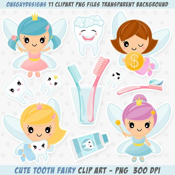 Cute Tooth Fairy Clipart. Tooth Fairy Clip Art. Tooth Fairy Graphics,  Instant download PNG file.