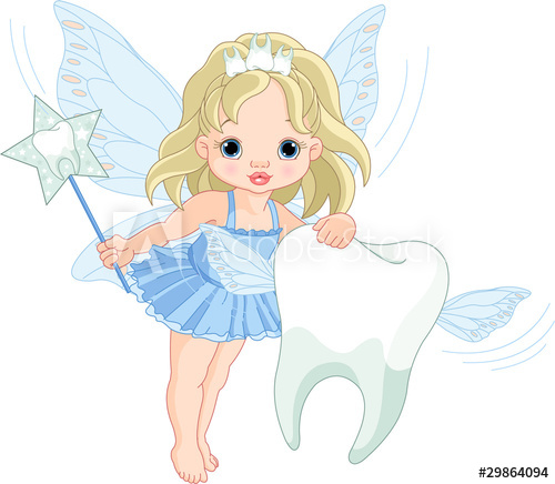 Cute Tooth Fairy flying with Tooth.