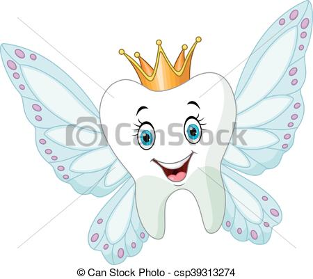 Cute tooth fairy flying.