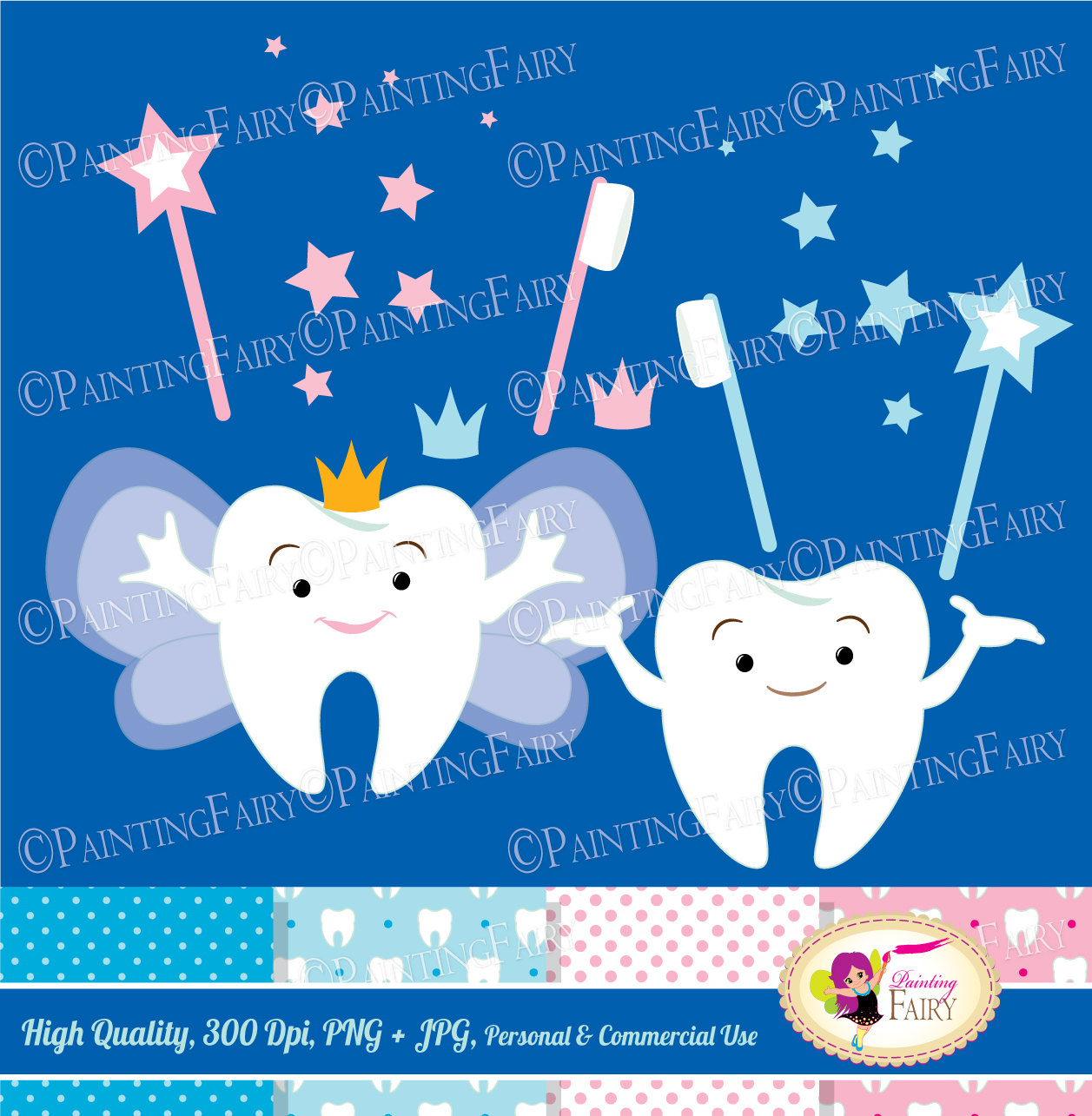 Tooth Fairy Clip Art Set Cliparts Cute teeth Pink Blue crowns stars fairy  wings magic wands toothbrush elements Digital Papers DIY pf00066.