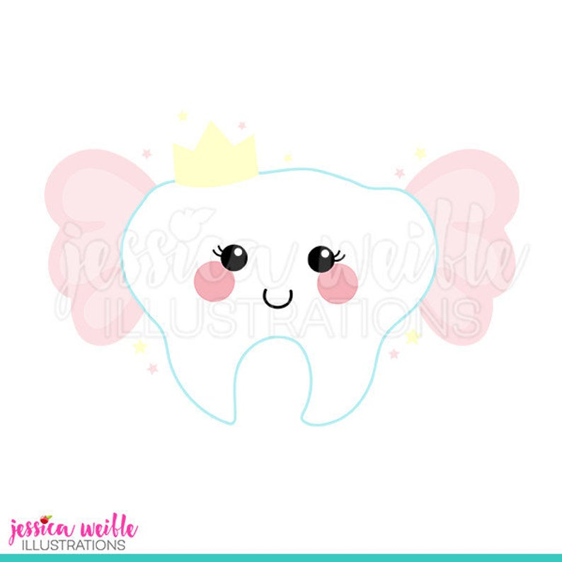 Tooth Fairy Cute Digital Clipart, Tooth Fairy Clip art, Tooth Graphics,  Tooth with Wings Illustration, #666.