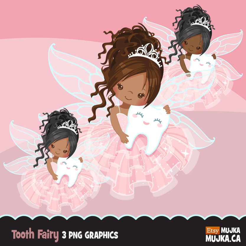 Tooth Fairy Clipart, cute fairy graphics African American, dark skin.