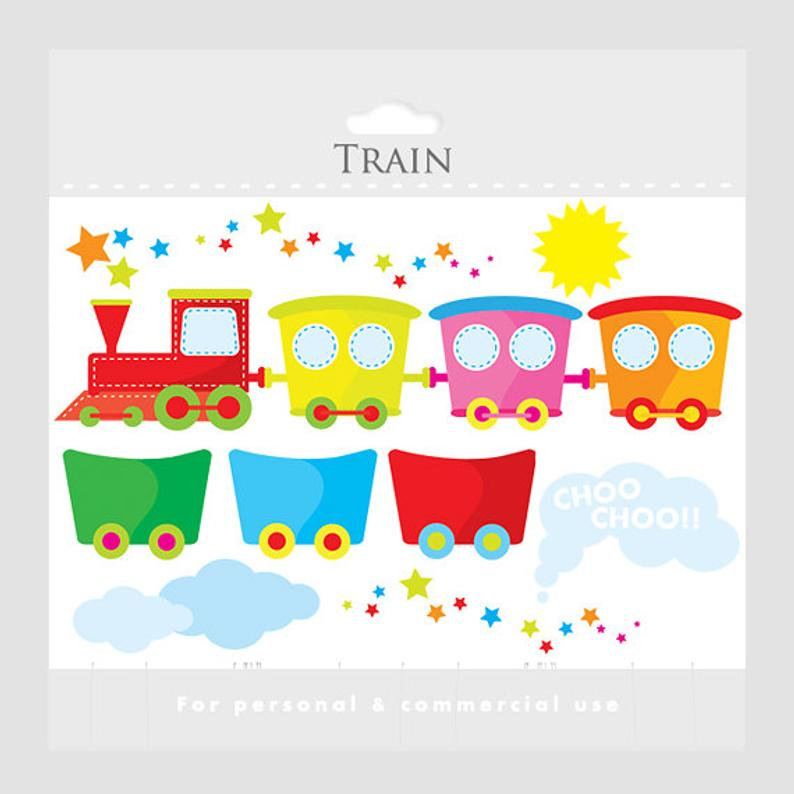 Stitched train clipart.
