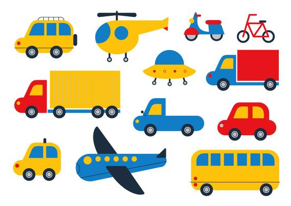 Car Clipart, Cute Clipart, Transport Vector ,Plane ,Bicycle ,Truck ,Cartoon  Vector, Ufo, Helicopter Clipart, Kid , Digital File,Motorcycle.