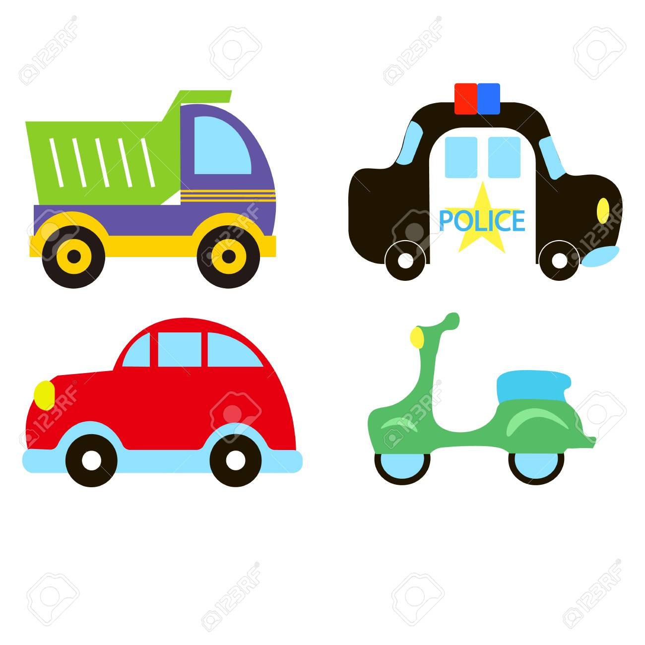 Vector transportation theme with car, police car, moped, truck,...