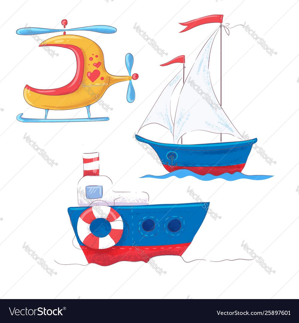 Set cartoon cute transport for children s clipart.
